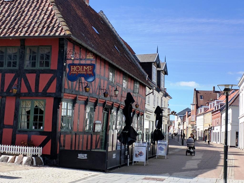 Denemarken, Funen, Middelfart, winkelstraat